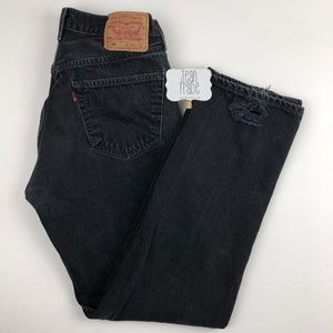Levi's 501 Black distressed high waist jeans